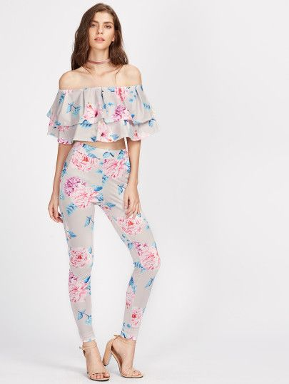 Random Florals Tiered Frill Layered Neckline Top With Leggings
