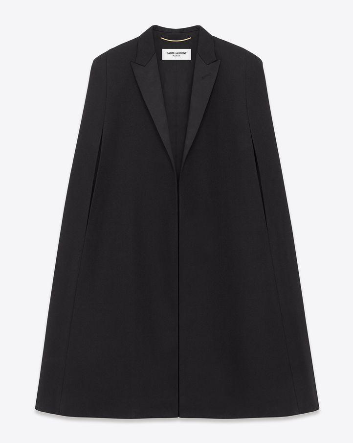 Saint Laurent Signature Le Smoking Cape In Black Wool | $2750