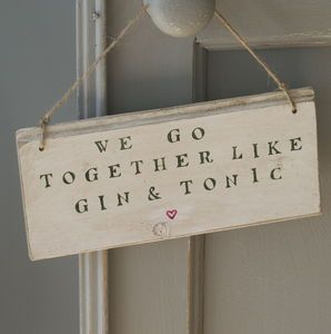 Gin And Tonic Personalised Sign