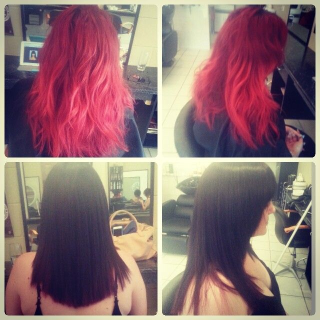 Bright Fiery Red to Dark Chocolate Brown. Massive colour change.