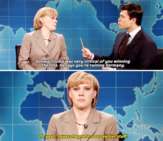 "When Kate McKinnon got political as Angela Merkel. | 19 Times The Women Of ""Saturday Night Live"" Made You Literally LOL"