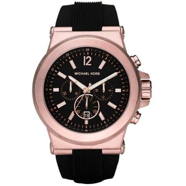Michael Kors  Dylan Rose Silicone Chronograph Watch (8,275 THB) ❤ liked on Polyvore featuring men's fashion, men's jewelry, men's watches, rose gold, mens silicone watches, michael kors mens watches, mens chronograph watches and mens black face watches