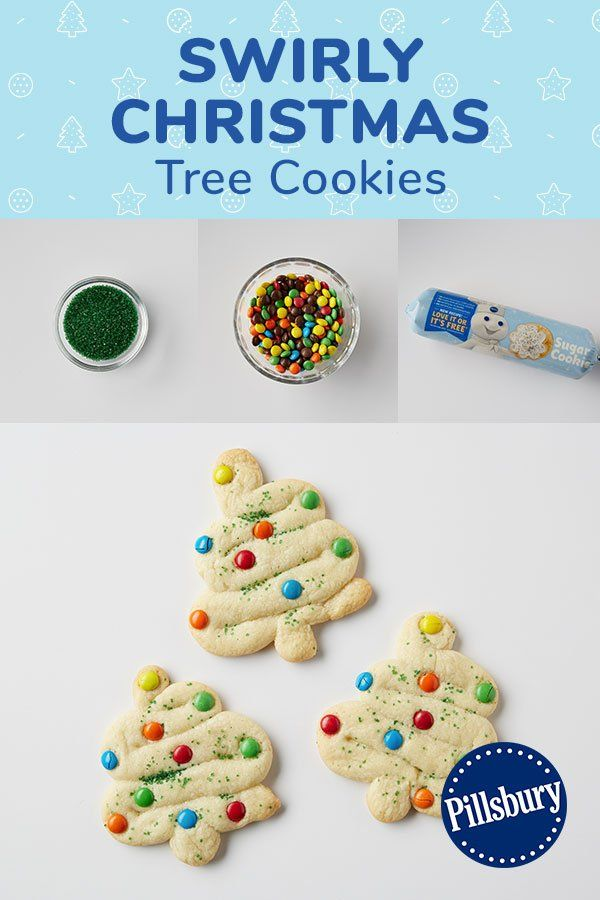 Swirly Christmas Tree Cookies