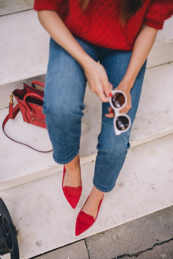 "Gal Meets Glam Twenty Six - Demylee sweater, J.Crew jeans, Schutz flats, Celine bag, Bobbi Brown lipstick in ""Red"" & Zanzan sunglasses"