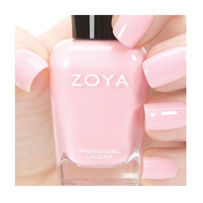 "Zoya Nail Polish — Awaken Collection (Spring 2014) — Dot (cool pink mostly opaque [4/5] cream) (""full-coverage pink petal cream [originally created for fashion designer Zang Toi's SS14 Collection]"")"