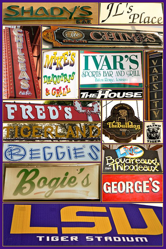 These are a few of my favorite things...LSU Bar Poster by lauriekforet on Etsy, $40.00