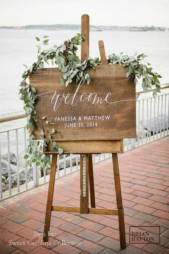 Wooden Wedding Welcome Sign with Names and Date | Rustic Wedding Welcome Signage | Wood Wedding Welcome Signs | Wedding Decor – WS-16