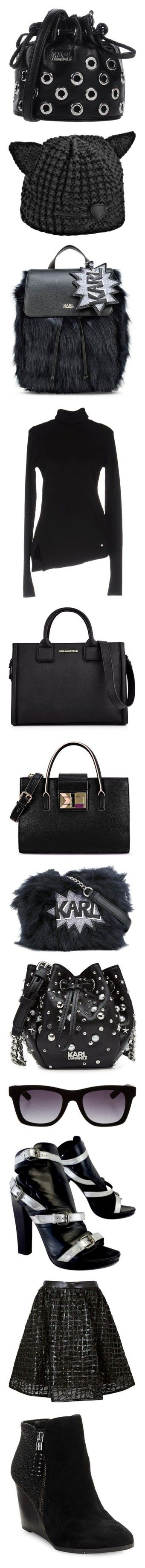"""Karl Lagerfeld"" by tina-teena ❤ liked on Polyvore featuring bags, handbags, shoulder bags, black, drawstring purse, man bag, handbags shoulder bags, karl lagerfeld purse, handbag purse and accessories"