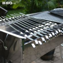 10pcs 45cm/17.7'' Stainless Steel Skewer BBQ Grilled Skewers Steel Needle Barbecue Skewers Shish Kabob Skewers w/Ring Tip Handle(China (Mainland))