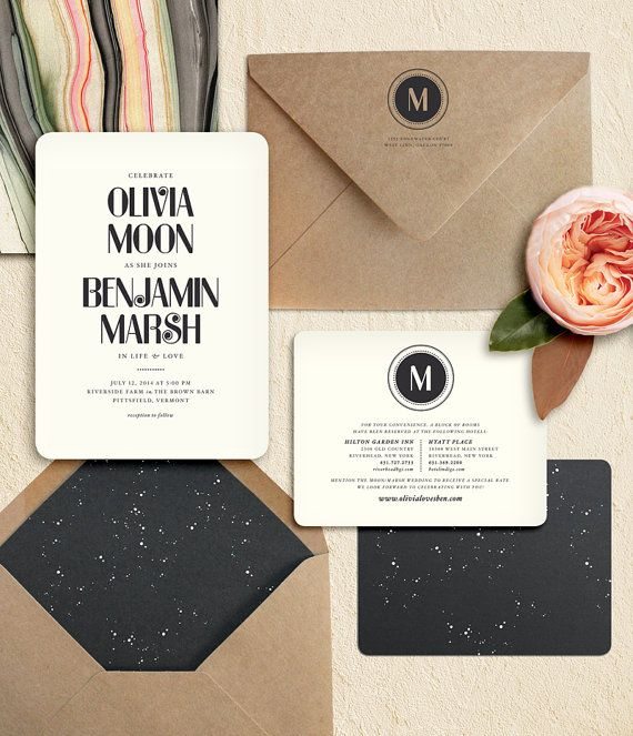 Modern Starry Night Wedding Invitation by oakandorchid on Etsy