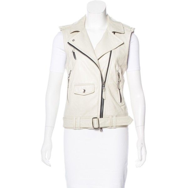 Pre-owned Coach Leather Biker Vest ($175) ❤ liked on Polyvore featuring outerwear, vests, white, zip vest, waist belt, leather vests, leather biker vest and white waist belt