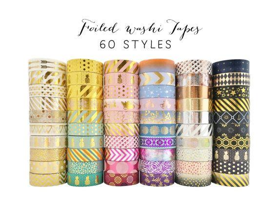 Bundle Deal 50 pcs Washi Tape Lot / Foiled Tape Wholesale / Value Pack