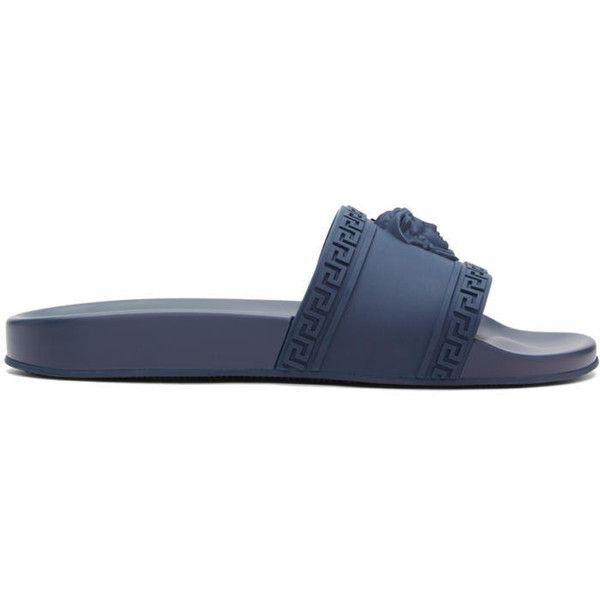 Versace Navy Medusa Pool Slides ($320) ❤ liked on Polyvore featuring men's fashion, men's shoes, men's sandals, navy, mens navy slip on shoes, mens round toe shoes, mens slip on sandals, mens rubber shoes and navy blue mens shoes