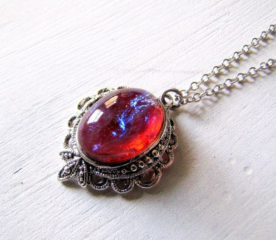 Dragon S Breath Opal Necklace Fire Opal Necklace Fantasy