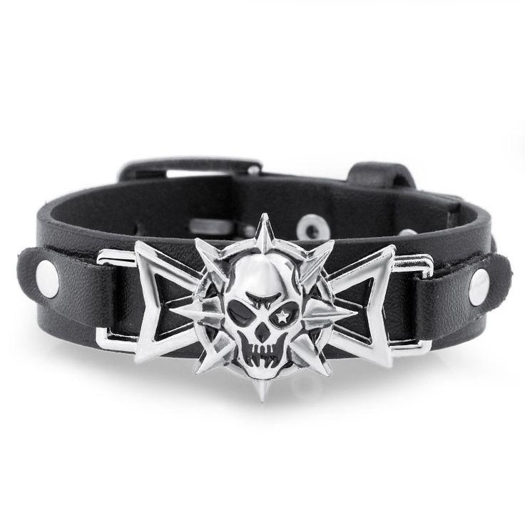 Skeleton Skull Star Eye Punk Gothic Rock Leather Belt Buckle Bracelets For Women Men Bracelets & Bangles