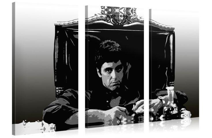 De Scarface (canvas) schilderij zwart-wit in een 3-luik formaat.