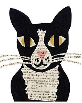 tuxedo cat paste art collage piece