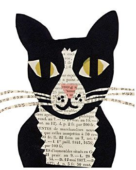 tuxedo cat paste art collage piece