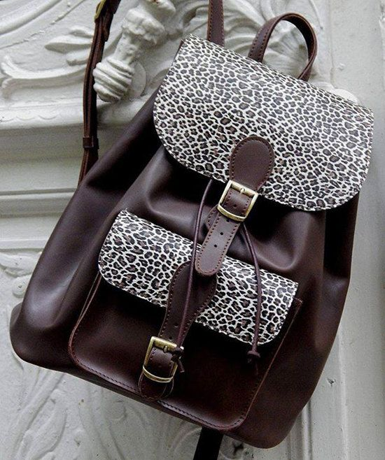 Head Made Leather Backpack Leopard by BellamodaGreece on Etsy