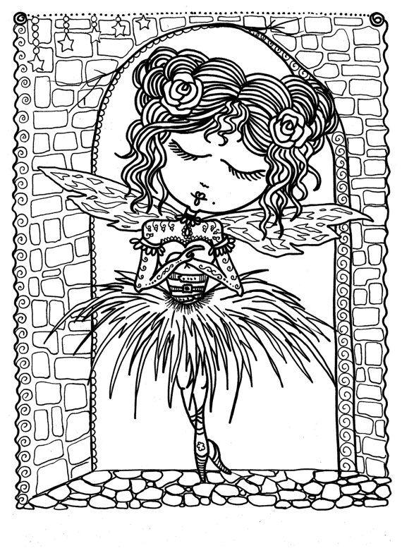 Funky Little Ballerina Fairies Coloring Book Page Fee fée fata de hadas Фея víla Fada colouring adult detailed advanced printable Zentangle anti-stress, Färbung für Erwachsene, coloriage pour adultes, colorare per adulti, para colorear para adultos, раскраски для взрослых, omalovánky pro dospělé, colorir para adultos, färgsätta för vuxna, farve for voksne, väritys aikuiset Line Art Black and White https://www.etsy.com/shop/ChubbyMermaid