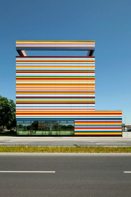 Rainbow Architecture -- Colorful striped facade, Business Park Airporthotel…