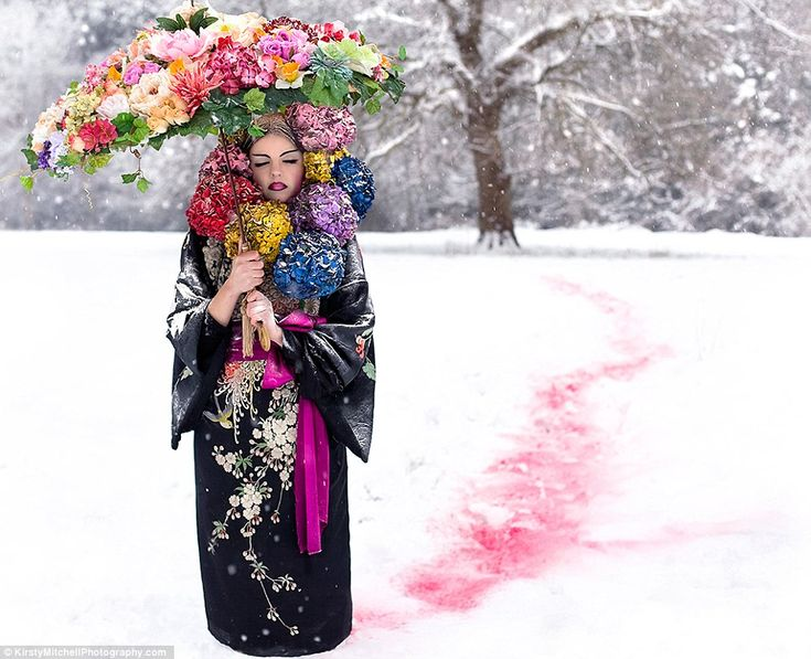 Spirited Away: blooms stand out against a snowy forest backdrop - a promise of the spring to come