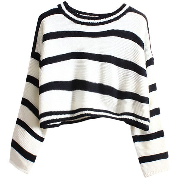 Blackfive Striped Cropped Loose Knit Jumper ($31) ❤ liked on Polyvore featuring tops, sweaters, shirts, crop tops, stripes, white crop top, striped shirt, long shirts, long white shirt and long knit sweater