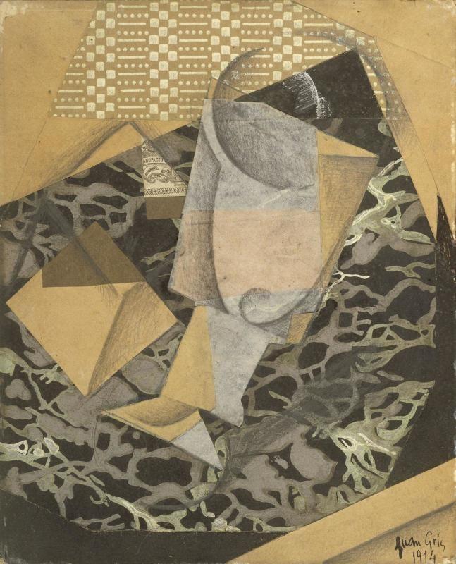 Juan Gris(1887 - 1927)  Verre et paquet de tabac 1914. Gouache, mine graphite et papiers collés sur carton monté sur châssis.