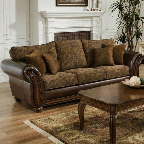 Simmons Upholstery 8104 Stationary Leather And Chenille Sofa