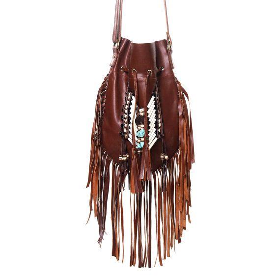 ON SALE Brown leather fringe purse medium size boho by etnikabali