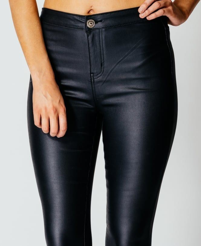 FAUX LEATHER SKINNY PANT WITH SOFT INNER LINING MID RISE POLY/SPANDEX COATED