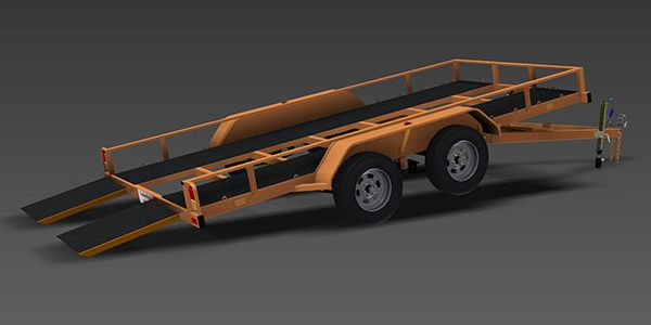 Flatbed TILT trailer plans, car carrier, optional rear drop ramps, comprehensive and detailed set of plans will provide you with all the necessary drawings