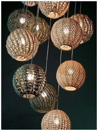 Inspiration: Pendant lamp shades (no pattern, just an idea) #crochet #lamp shade