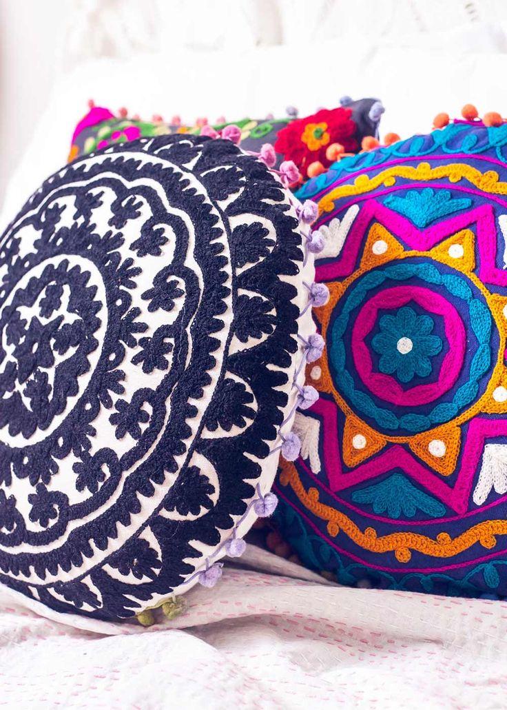 Round Embroidery Cushion | Bohemian Decor Accessories | SoulMakes #bohemian