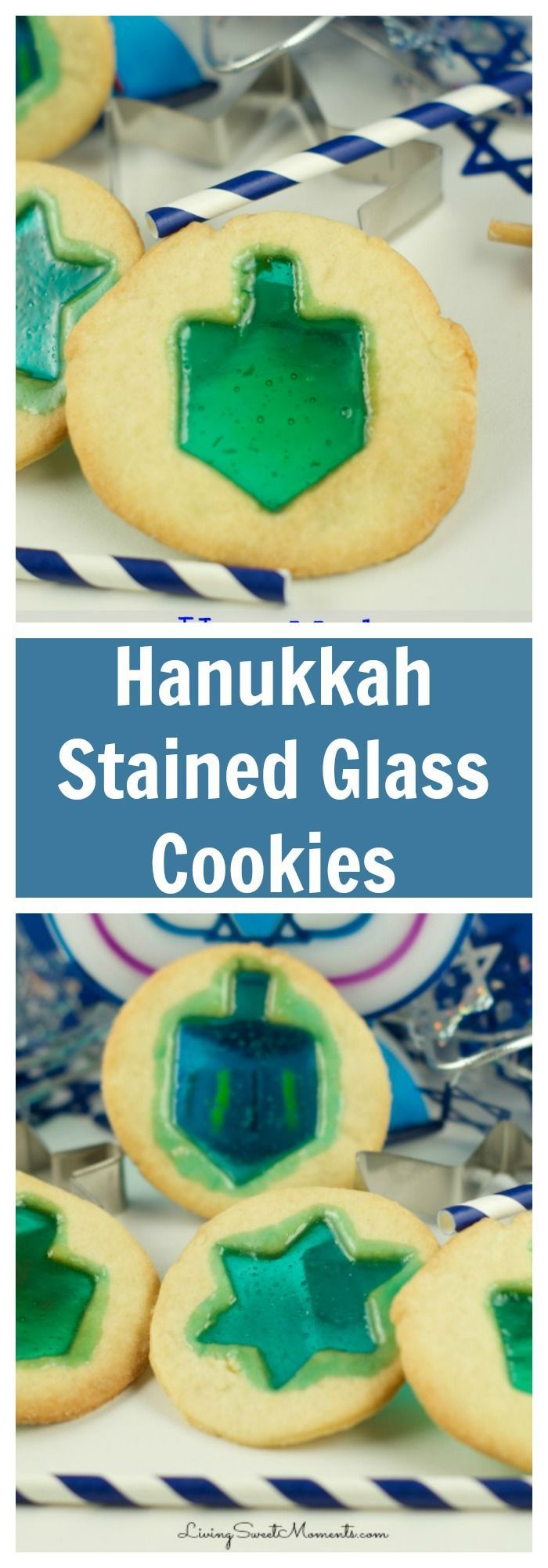 Delicious Hanukkah stained glass cookies. So easy to make and fun with kids! Create this delicious effect in few easy steps. Sweet, crumbly and oh so yummy. More Hanukkah recipes at http://livingsweetmoments.com  via @Livingsmoments