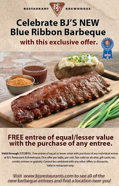 BJ's Restaurant and Brewhouse Free Entree with Purchase of Any Entree Coupon!
