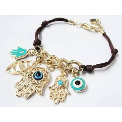 Bracelete Pulseira Sorte Mao Fatima, Hamsa, Olho Grego 2197 - R$ 33,96 em Mercado Livre