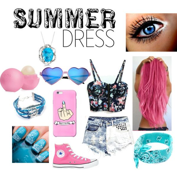 ~Summer Dress~ **PINK and BLUE** by annabellalom on Polyvore featuring Boohoo, Converse, Allurez, Wildfox and Eos