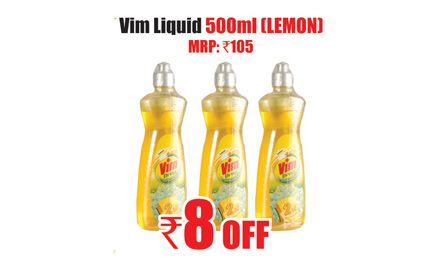 Rs 8 off on vim liquid 500ml (Lemon). Valid only at Heritage Fresh Outlets in Bangalore.