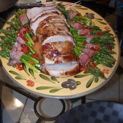 Lombo de porco assado com molho de mel e mostarda