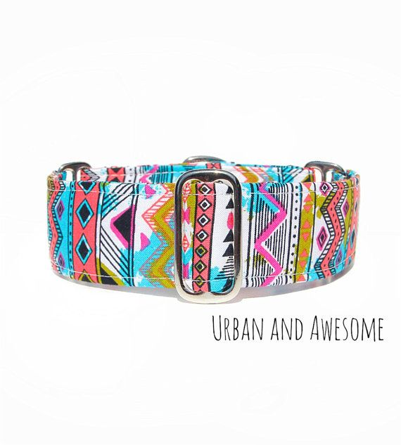 Pink Aztec Martingale Dog Collar Pre-made in 1.5 by CollarTown