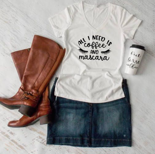 All I need is coffee and mascara Beauty shirt Mama Shirt