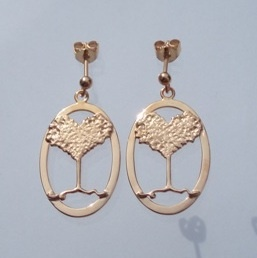 Earrings with the tree of life. Made i sterling silver, gold plated. By Ailin Roelvaag.
