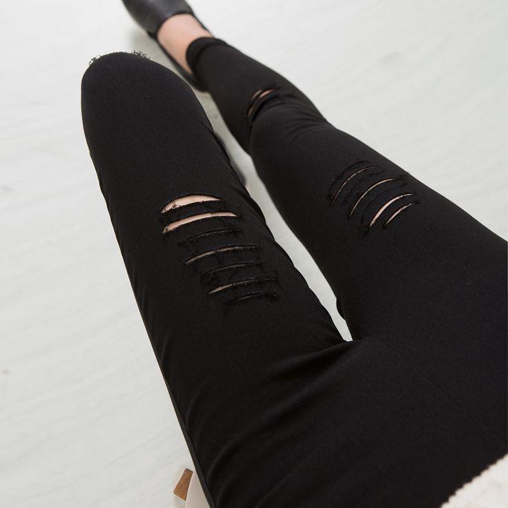 2016 Algodón De Alta Elasticidad Imite los pantalones hasta la Rodilla Mujer Flaco Lápiz pantalones Delgado Ripped Jeans Ripped Jeans Para Mujeres Negro XXXL JN079