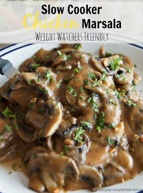 Slow Cooker Chicken Marsala, simple & delicious, low calorie recipes (235 cal) Weight Watchers Recipes with Points Plus (5 points+)