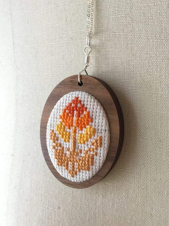 Floral Orange Flower Necklace Cross Stitch by TheMarshWrenShop