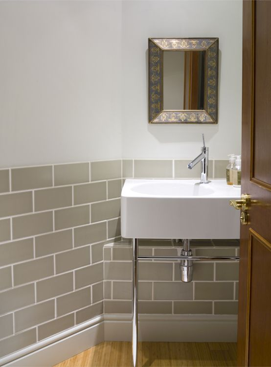 Guest cloakroom tiles by fired earth sink and taps by for Fired earth bathroom ideas