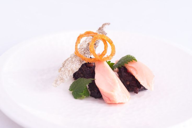 SOUS VIDE BUTTERED PINK TROUT WITH BLACK PUDDING AND MUSTARD FOAM - For a fish dish that packs a punch, try this truly delicious sous vide recipe with trout and black pudding from chef Nigel Haworth.
