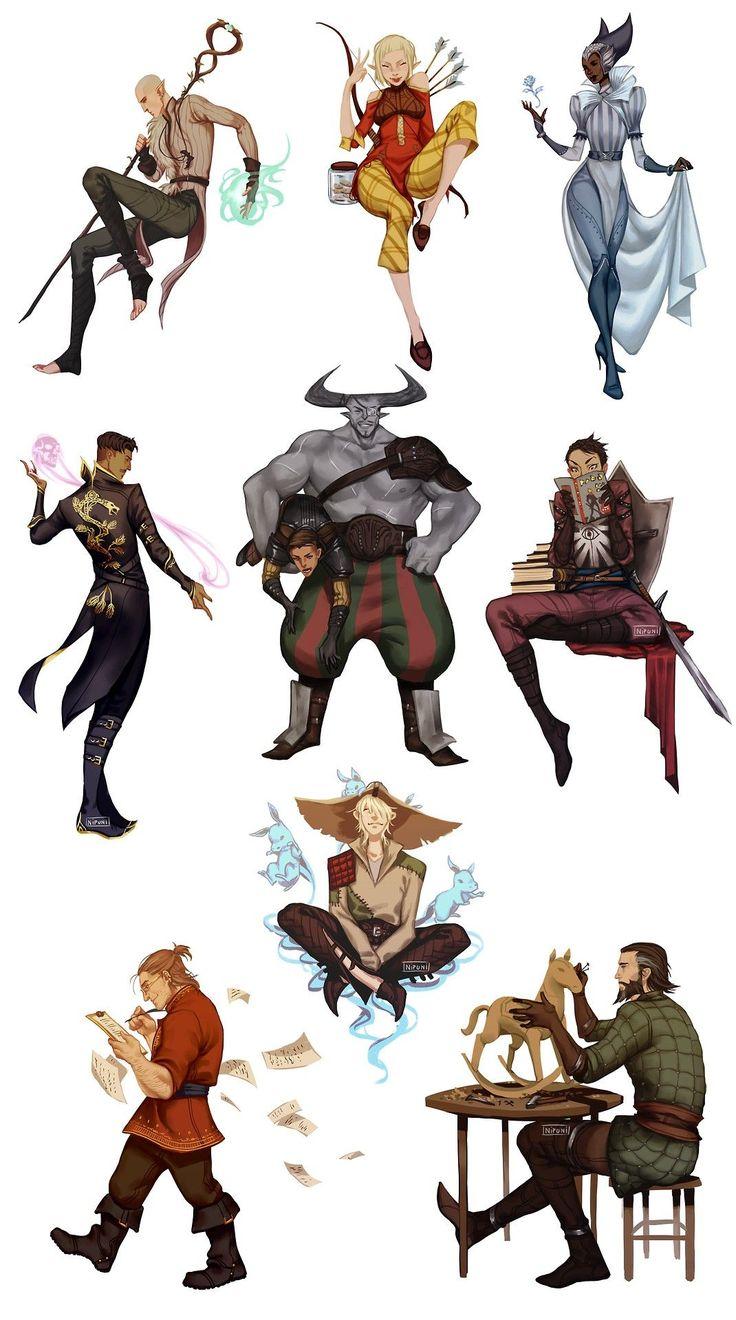 DAI characters by Nipuni (Solas, Sera, Vivienne, Dorian, Iron Bull & Krem, Cassandra, Varric, Cole and Blackwall)