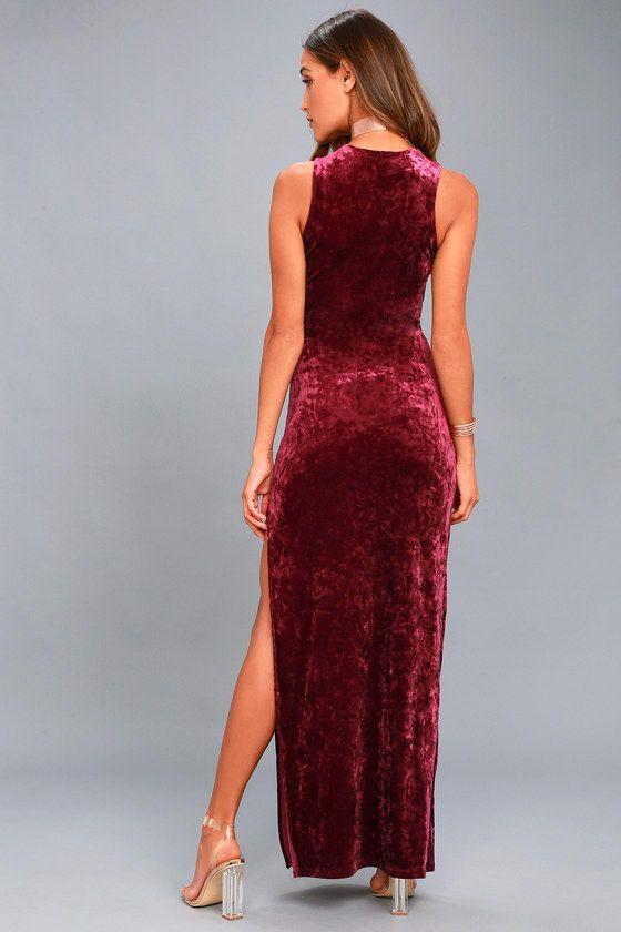 6bf0464d4c8 Love and Memories Burgundy Velvet Maxi Dress in 2019